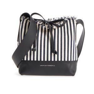 Loeffler Randall Navy Striped Bucket Bag